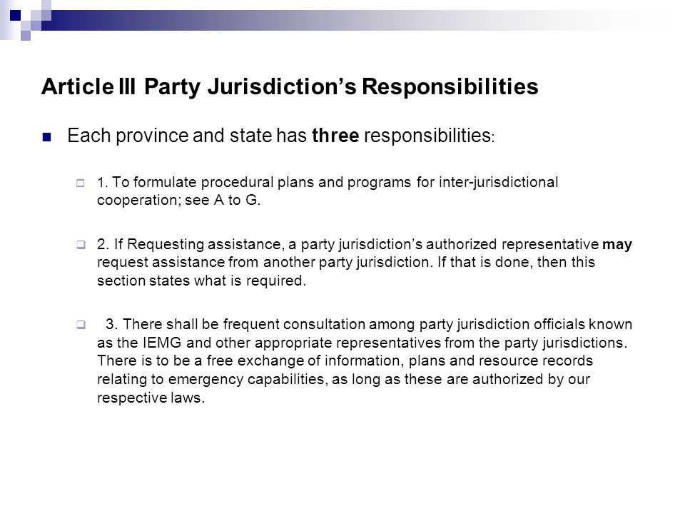 Article III Party Jurisdiction's Responsibilities