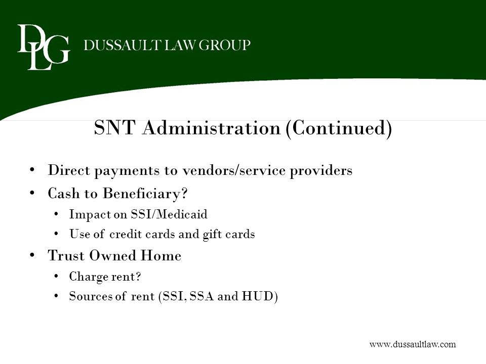 SNT Administration (Continued)