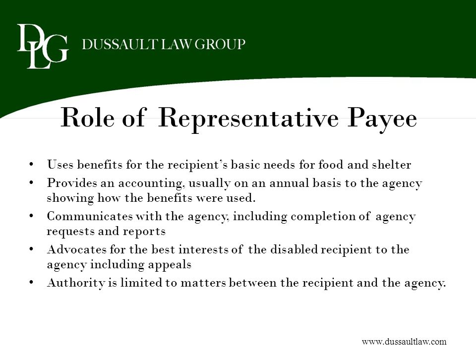 Role of Representative Payee
