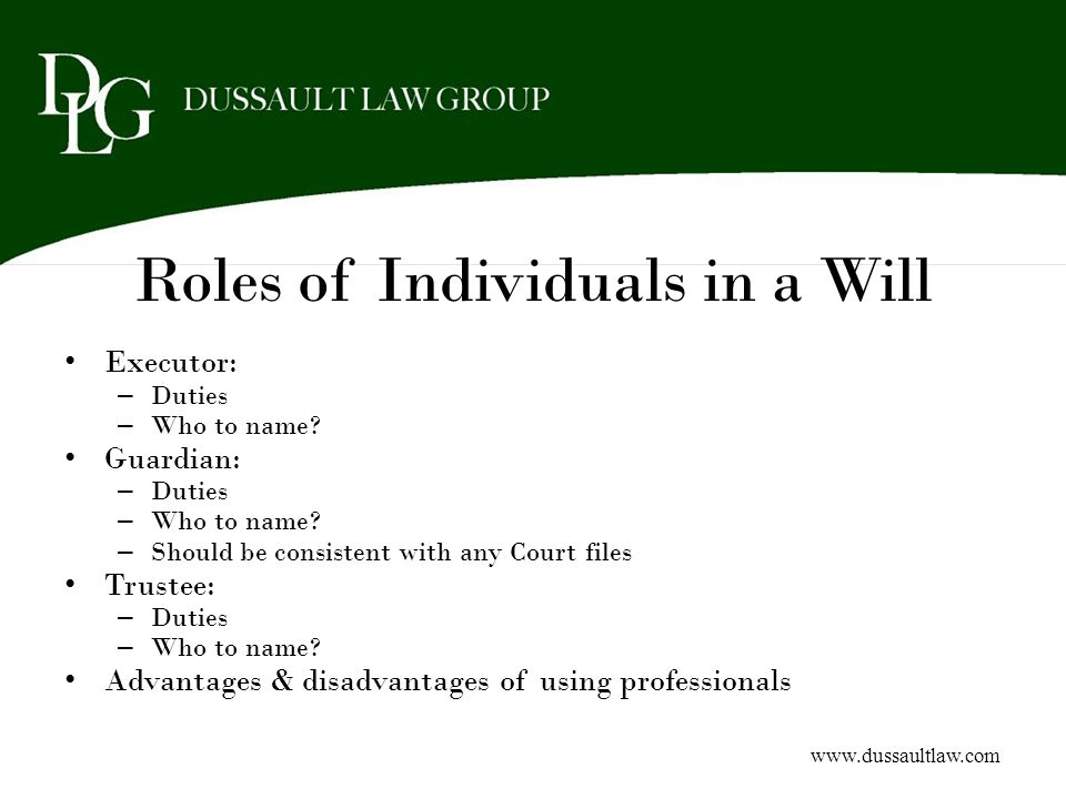 Roles of Individuals in a Will