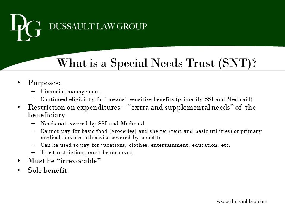 What is a Special Needs Trust (SNT)