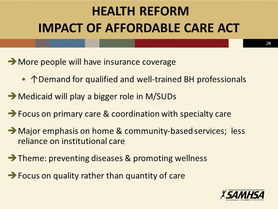 HEALTH REFORM IMPACT OF AFFORDABLE CARE ACT