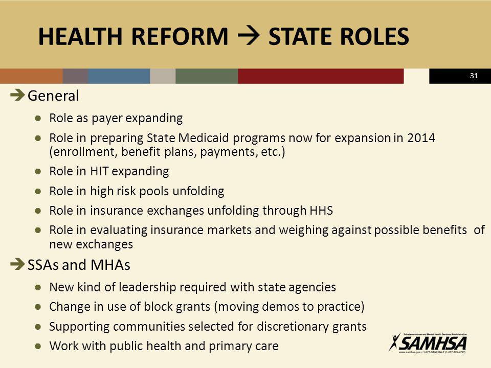 HEALTH REFORM  STATE ROLES