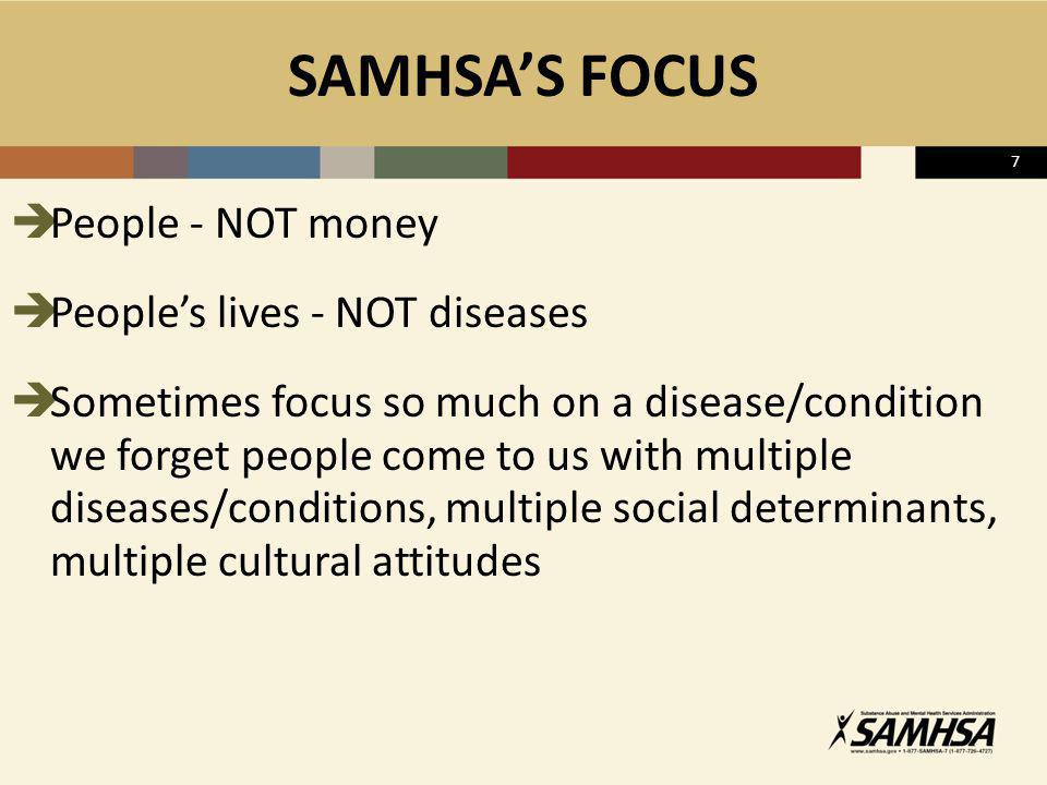 SAMHSA'S FOCUS People - NOT money People's lives - NOT diseases