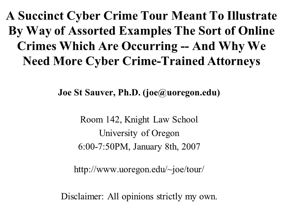 Joe St Sauver, Ph.D. (joe@uoregon.edu)