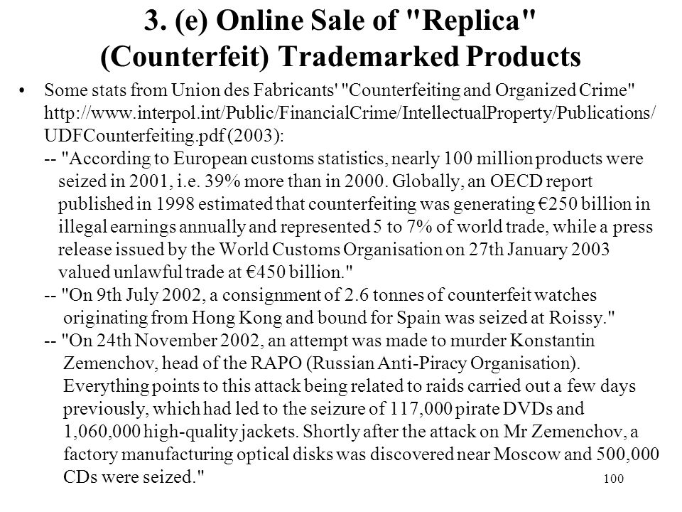 3. (e) Online Sale of Replica (Counterfeit) Trademarked Products