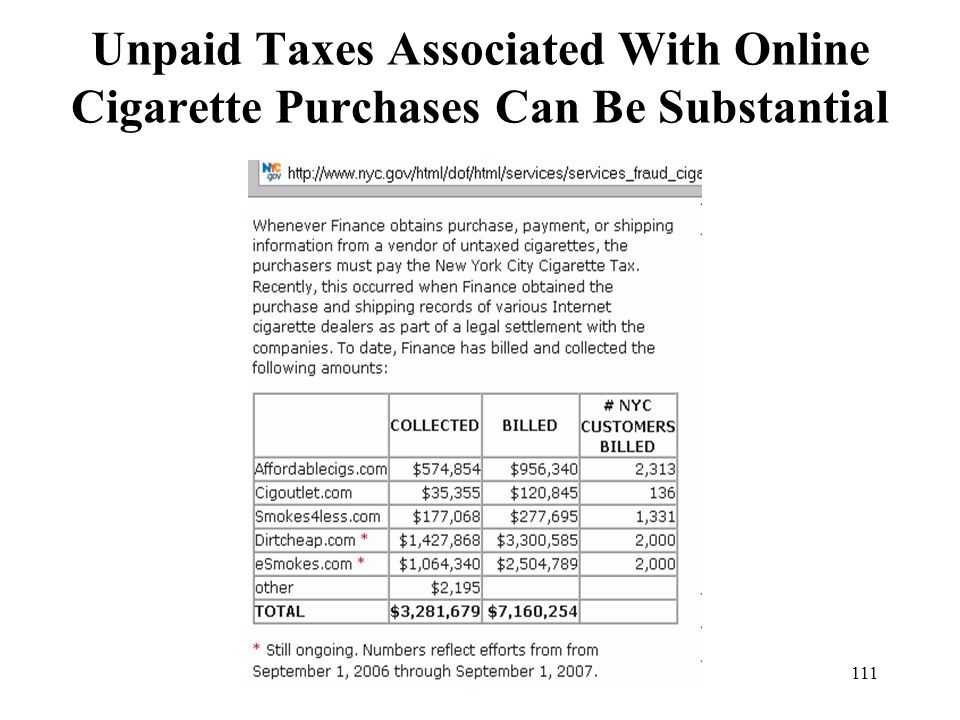 Unpaid Taxes Associated With Online Cigarette Purchases Can Be Substantial
