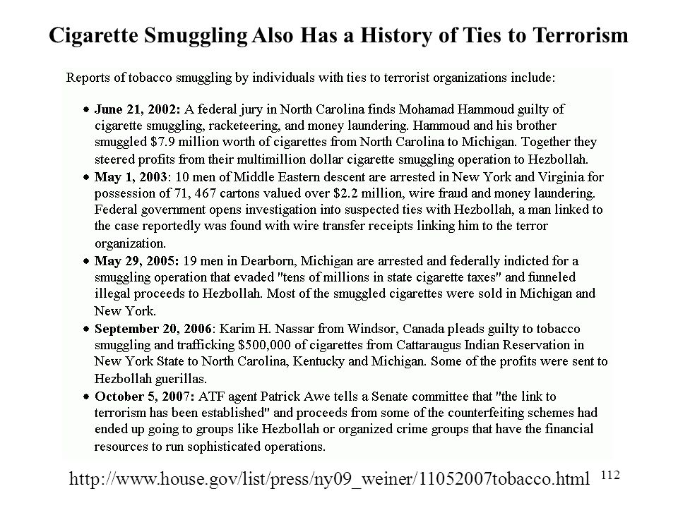 Cigarette Smuggling Also Has a History of Ties to Terrorism
