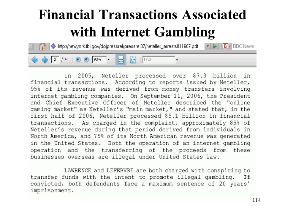 Financial Transactions Associated with Internet Gambling