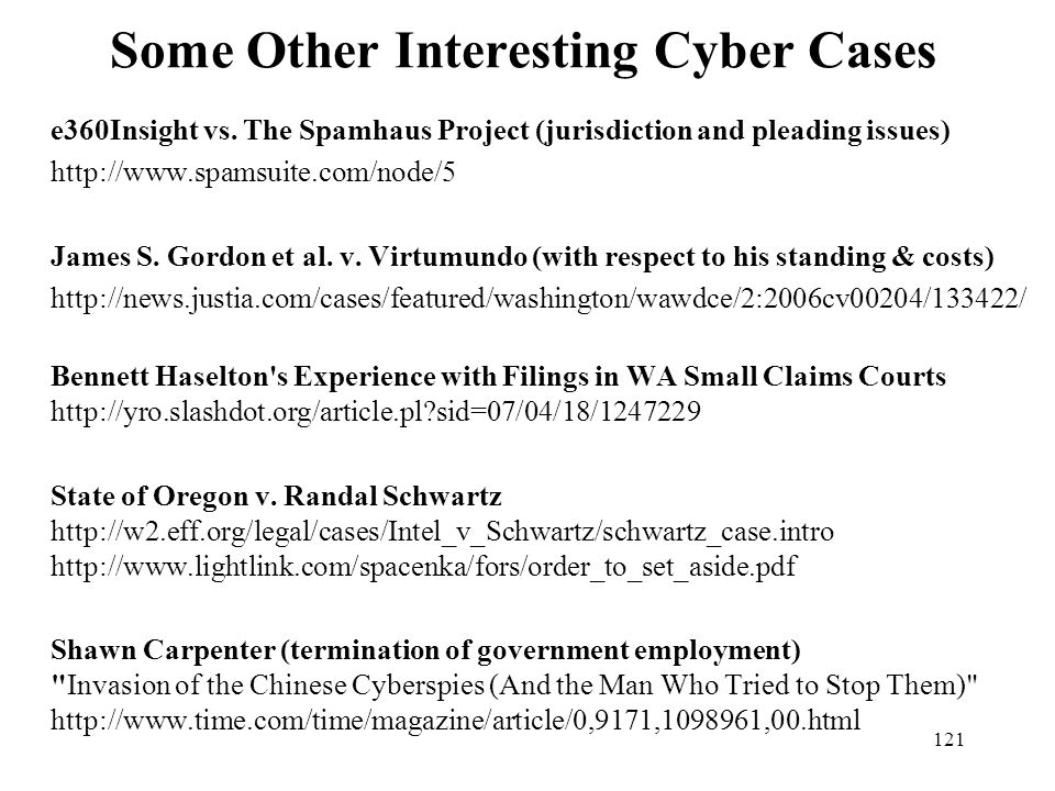 Some Other Interesting Cyber Cases