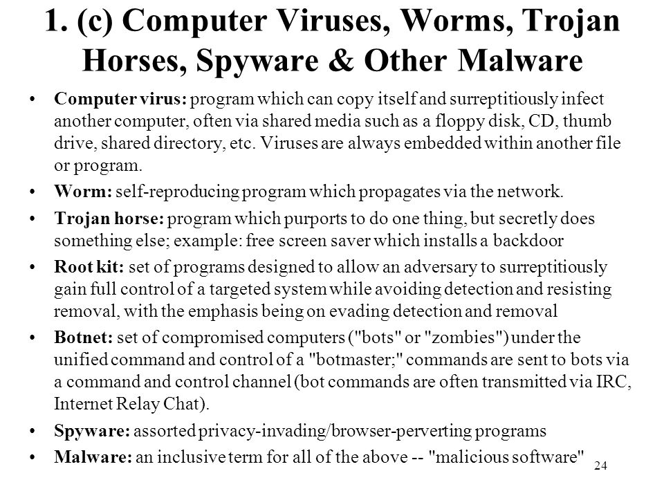 1. (c) Computer Viruses, Worms, Trojan Horses, Spyware & Other Malware