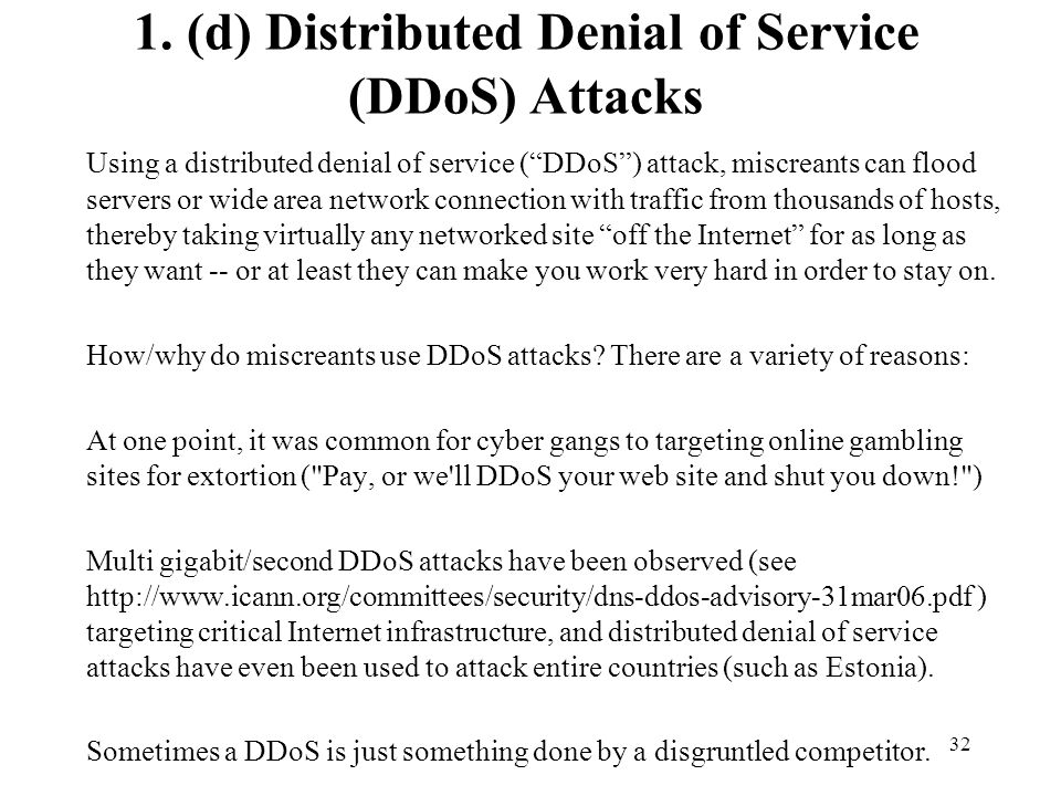 1. (d) Distributed Denial of Service (DDoS) Attacks