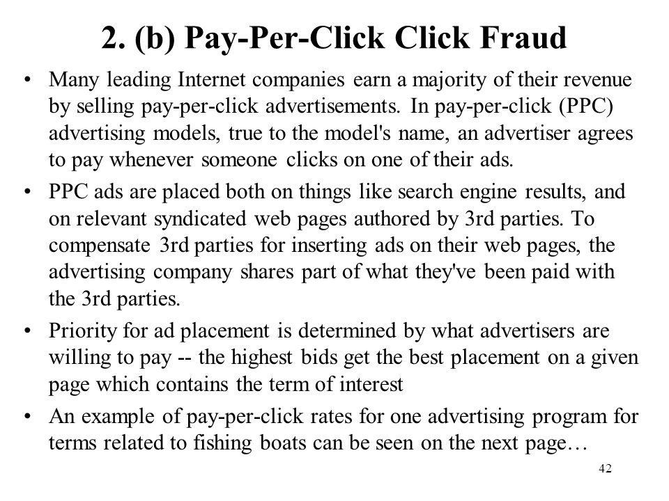 2. (b) Pay-Per-Click Click Fraud