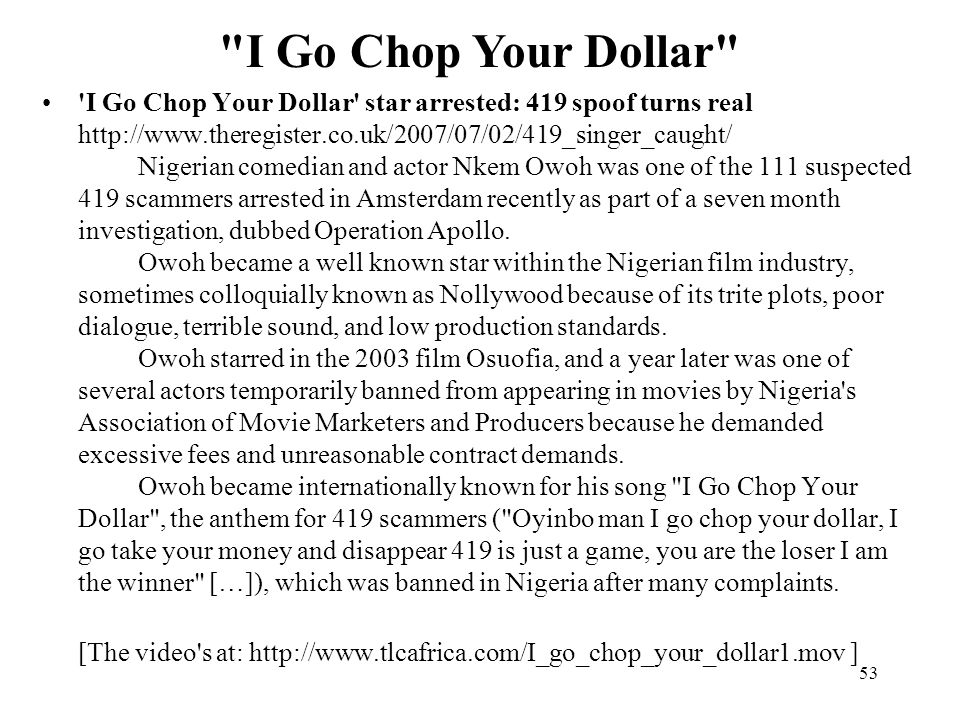 I Go Chop Your Dollar
