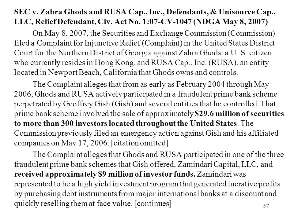 SEC v. Zahra Ghods and RUSA Cap. , Inc. , Defendants, & Unisource Cap