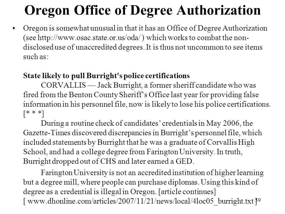 Oregon Office of Degree Authorization