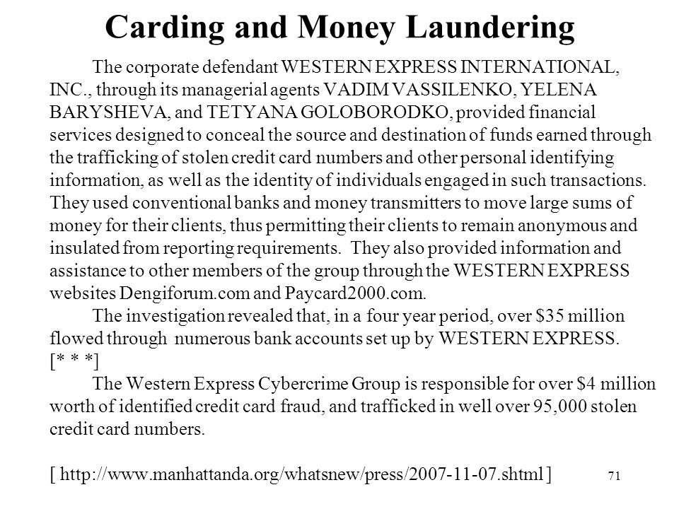 Carding and Money Laundering