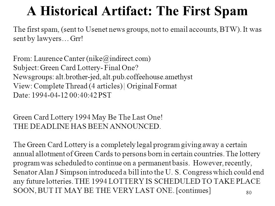 A Historical Artifact: The First Spam