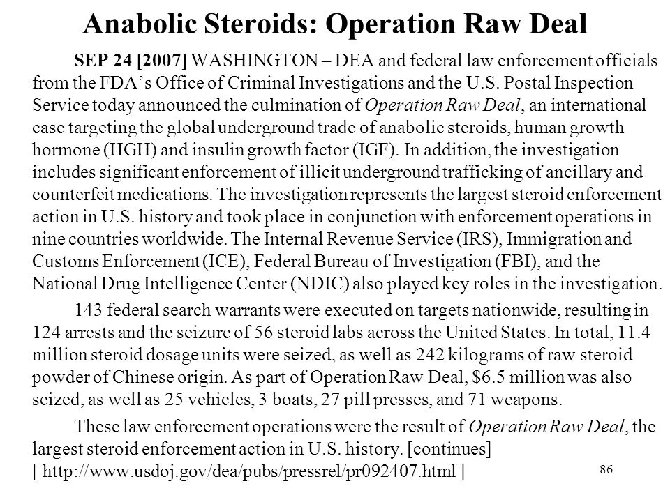 Anabolic Steroids: Operation Raw Deal