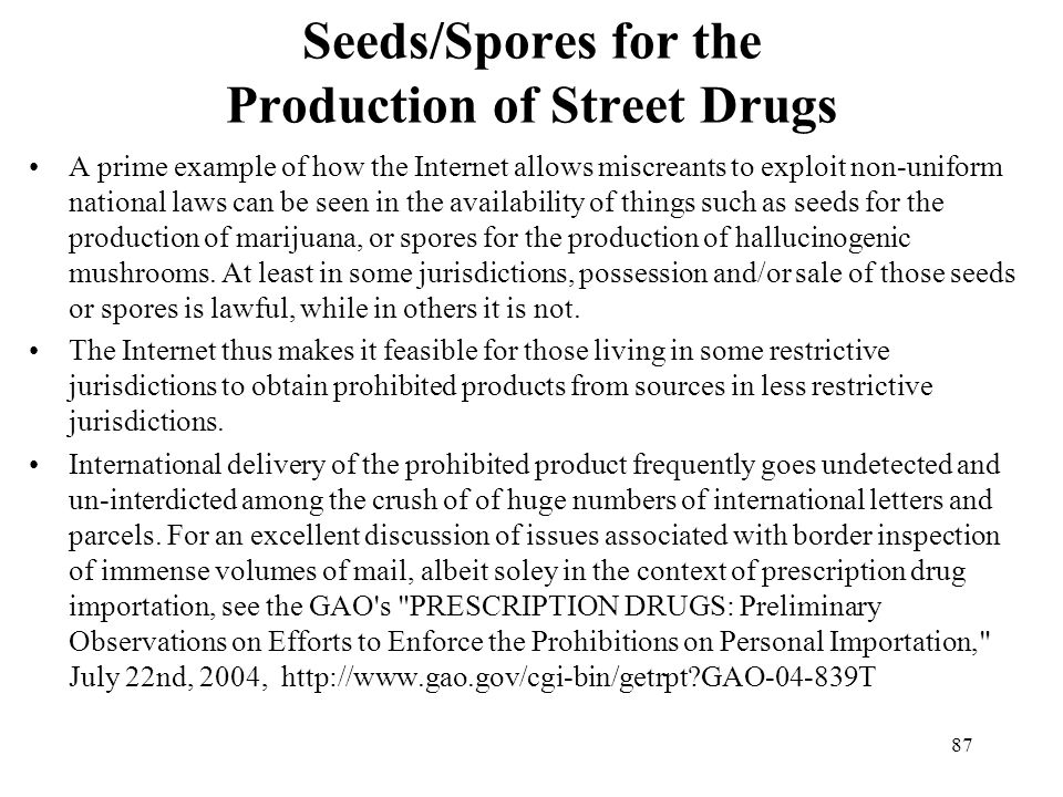 Seeds/Spores for the Production of Street Drugs