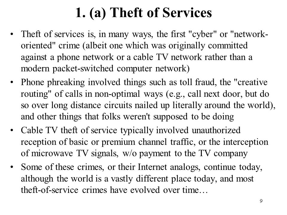 1. (a) Theft of Services