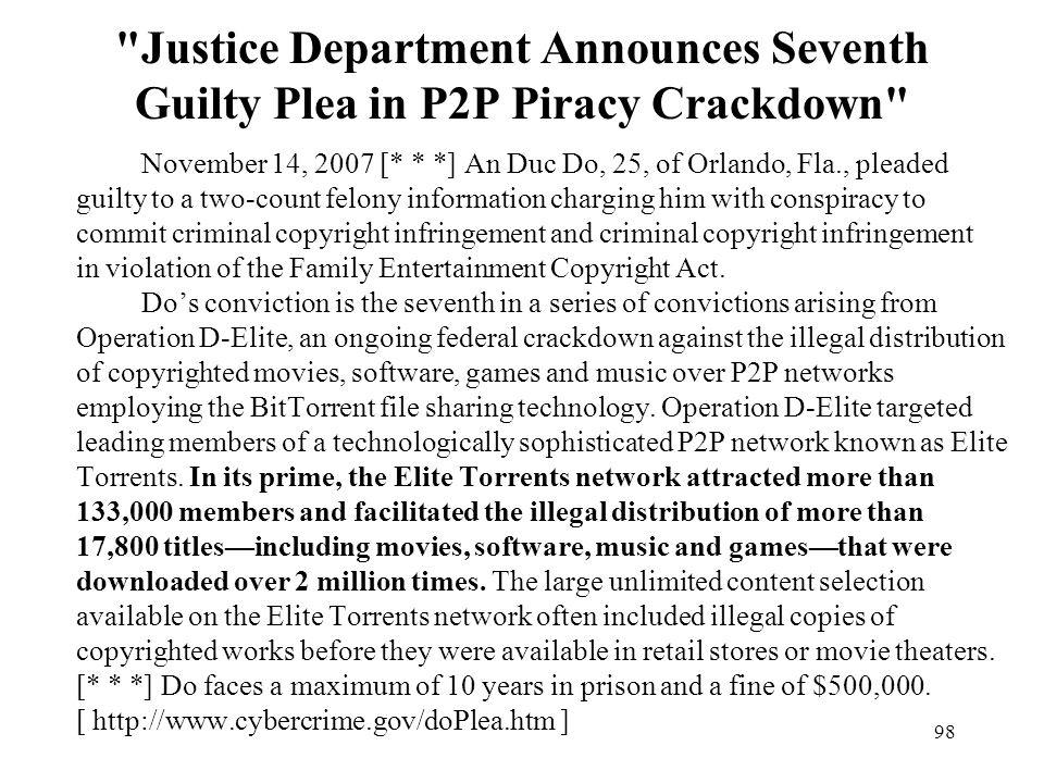 Justice Department Announces Seventh Guilty Plea in P2P Piracy Crackdown