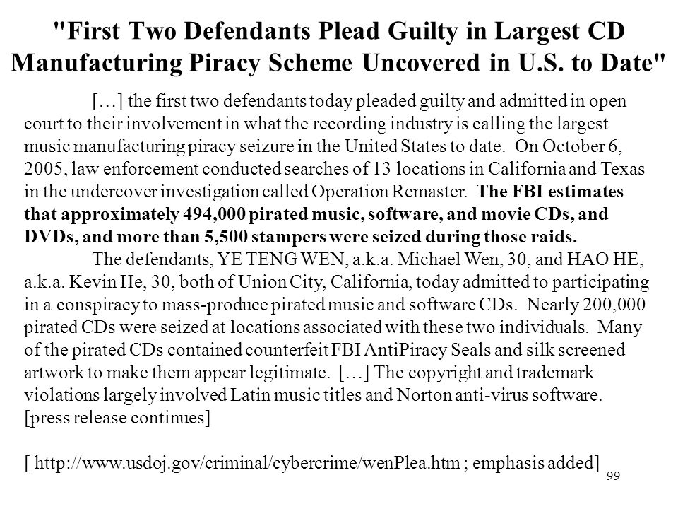First Two Defendants Plead Guilty in Largest CD Manufacturing Piracy Scheme Uncovered in U.S. to Date