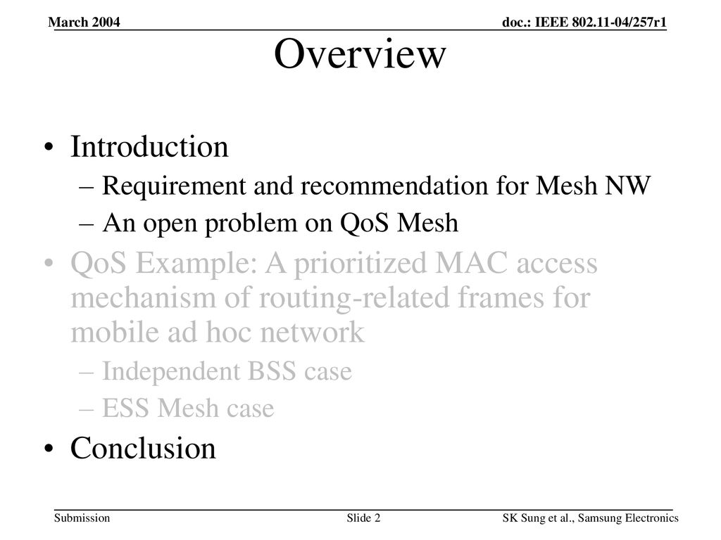 Prioritized MAC Access Mechanism of Routing-related Frame for ESS
