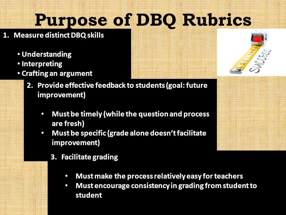 Purpose of DBQ Rubrics Measure distinct DBQ skills Understanding