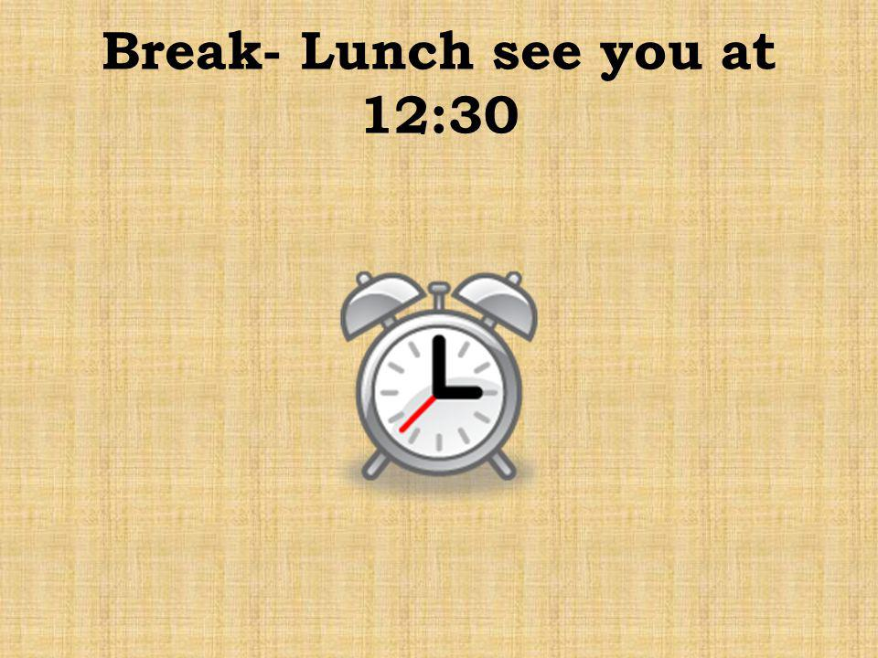 Break- Lunch see you at 12:30