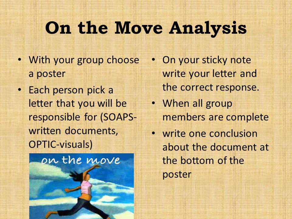On the Move Analysis With your group choose a poster
