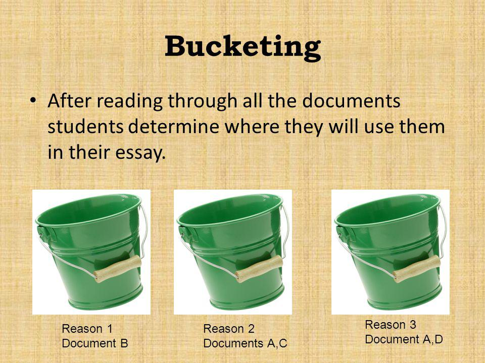 Bucketing After reading through all the documents students determine where they will use them in their essay.