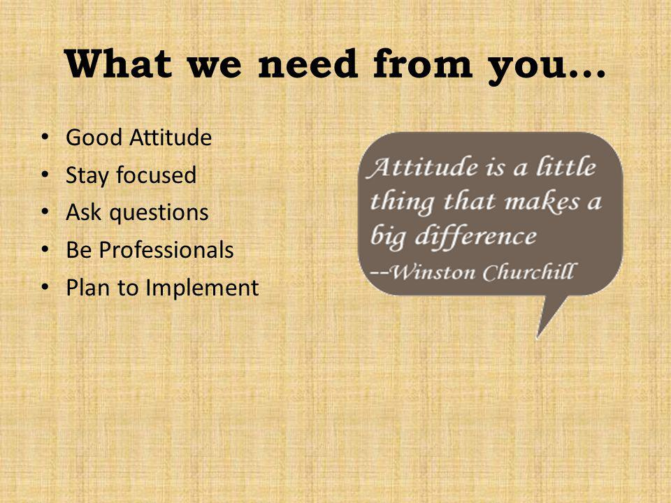 What we need from you… Good Attitude Stay focused Ask questions