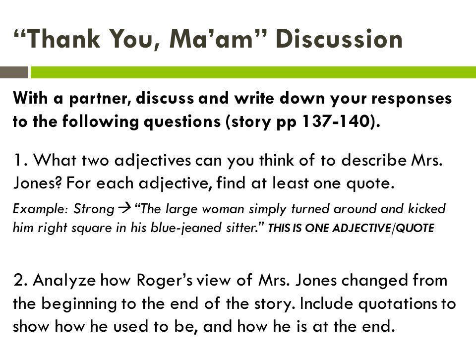thank you ma am story