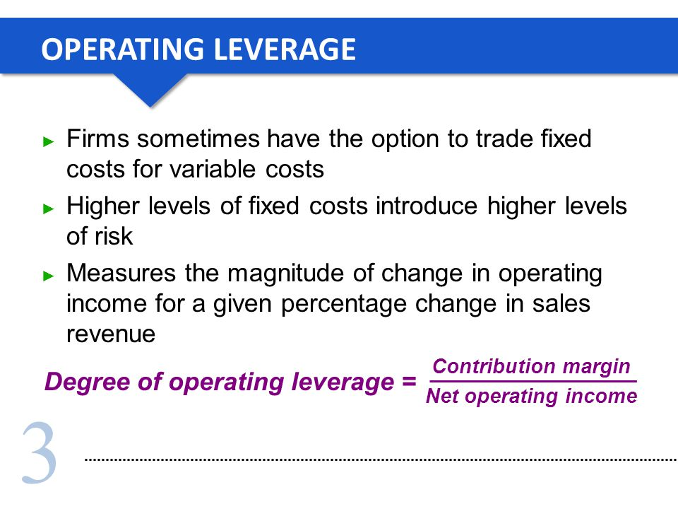 OPERATING LEVERAGE Firms sometimes have the option to trade fixed costs for variable costs.