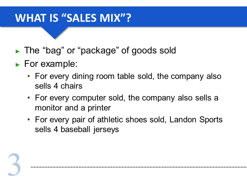 WHAT IS SALES MIX The bag or package of goods sold For example: