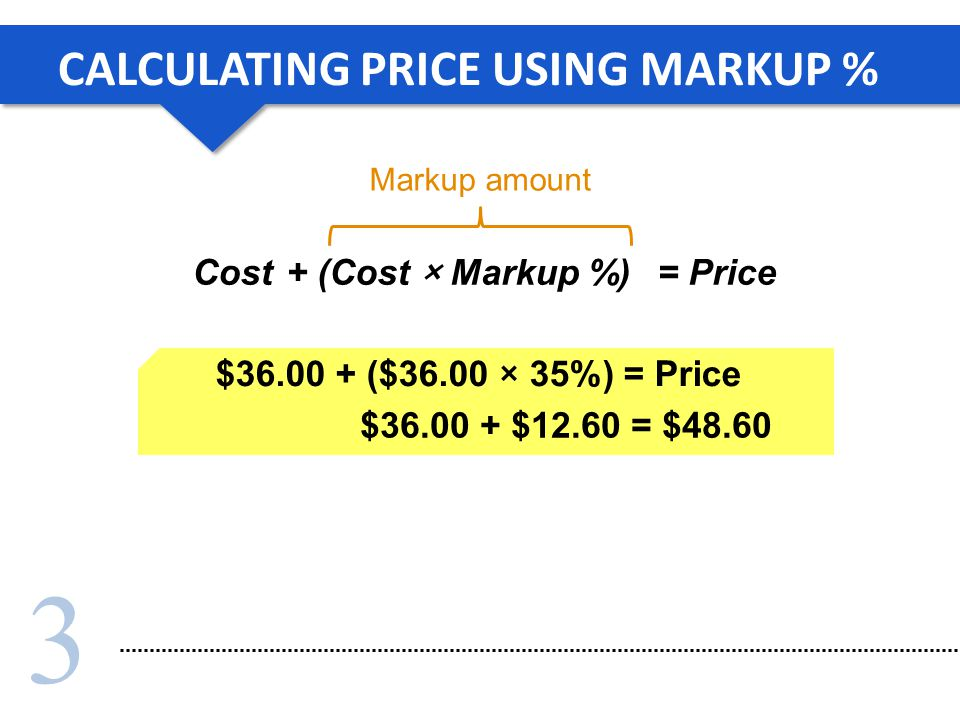 CALCULATING PRICE USING MARKUP %