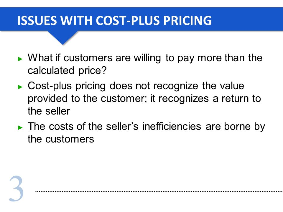ISSUES WITH COST-PLUS PRICING