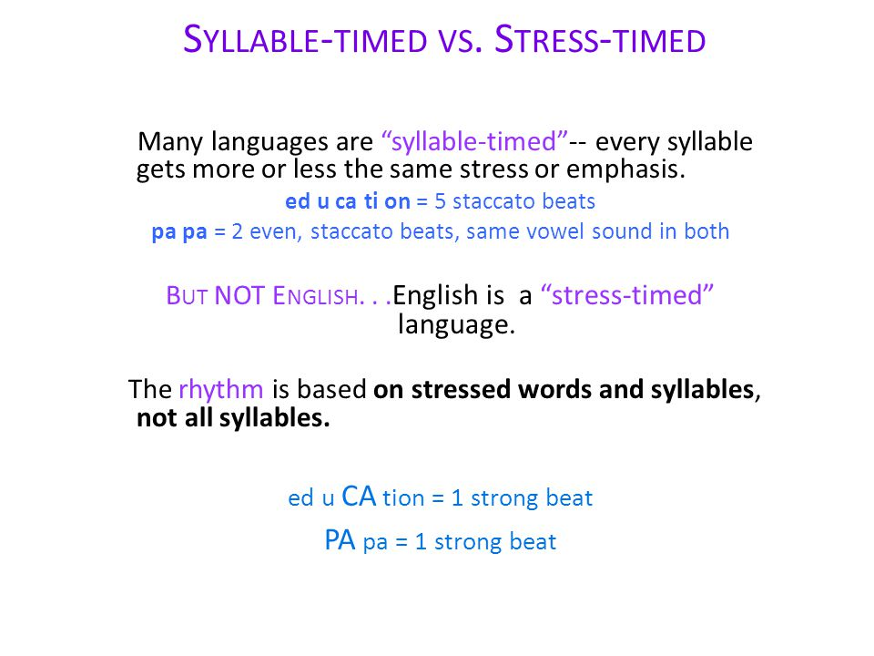 Syllable-timed vs. Stress-timed