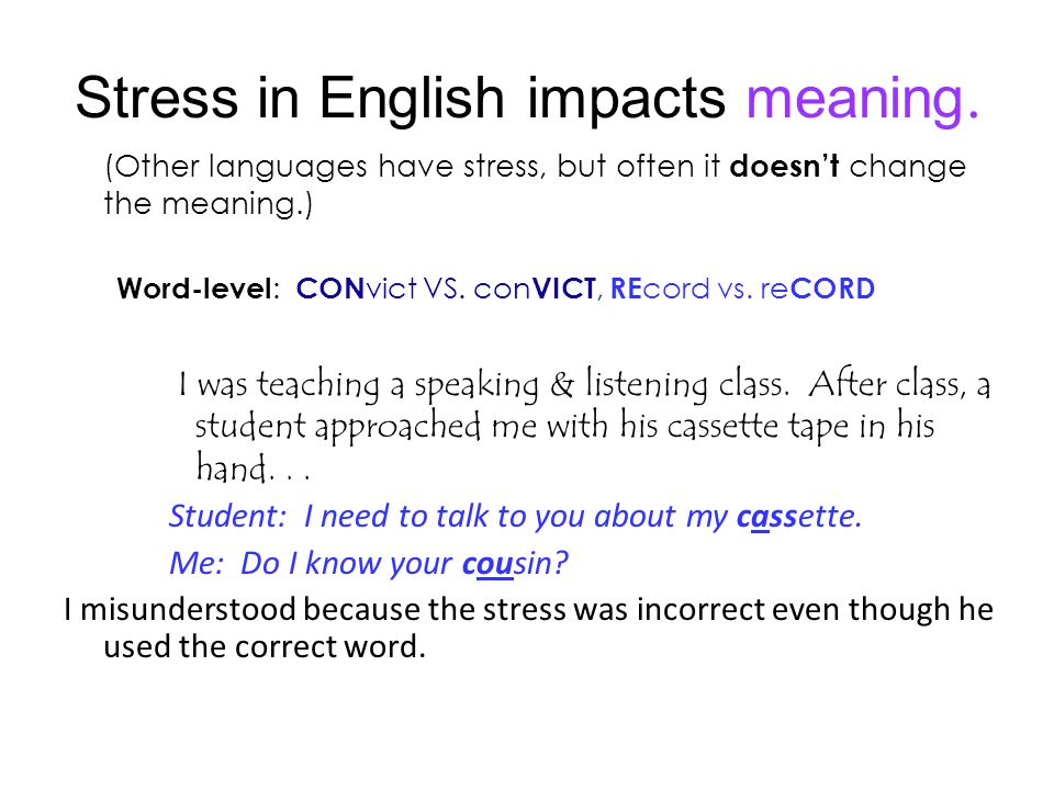 Stress in English impacts meaning.