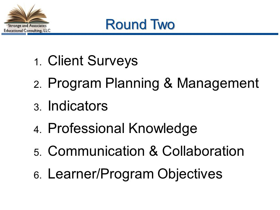Program Planning & Management Indicators Professional Knowledge