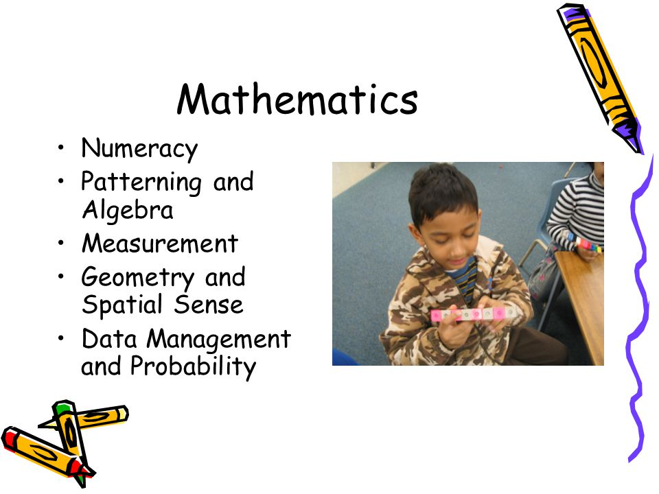 Mathematics Numeracy Patterning and Algebra Measurement