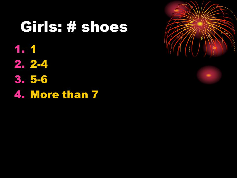 Girls: # shoes 1 2-4 5-6 More than 7 10