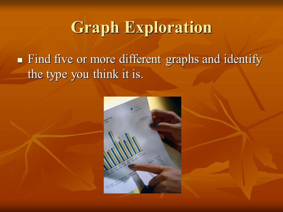 Graph Exploration Find five or more different graphs and identify the type you think it is.