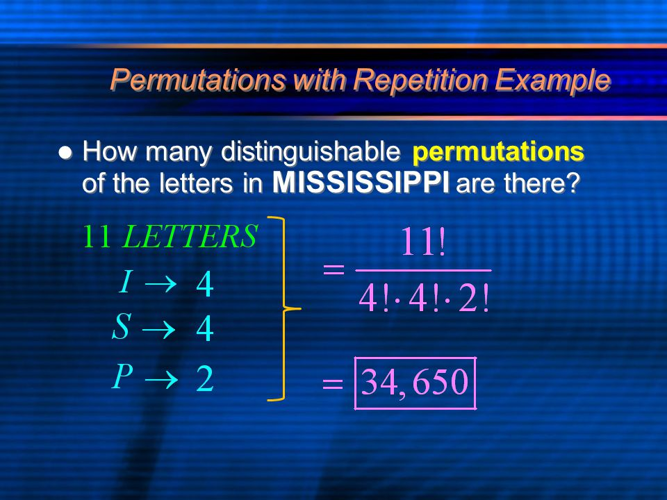 Permutations with Repetition Example