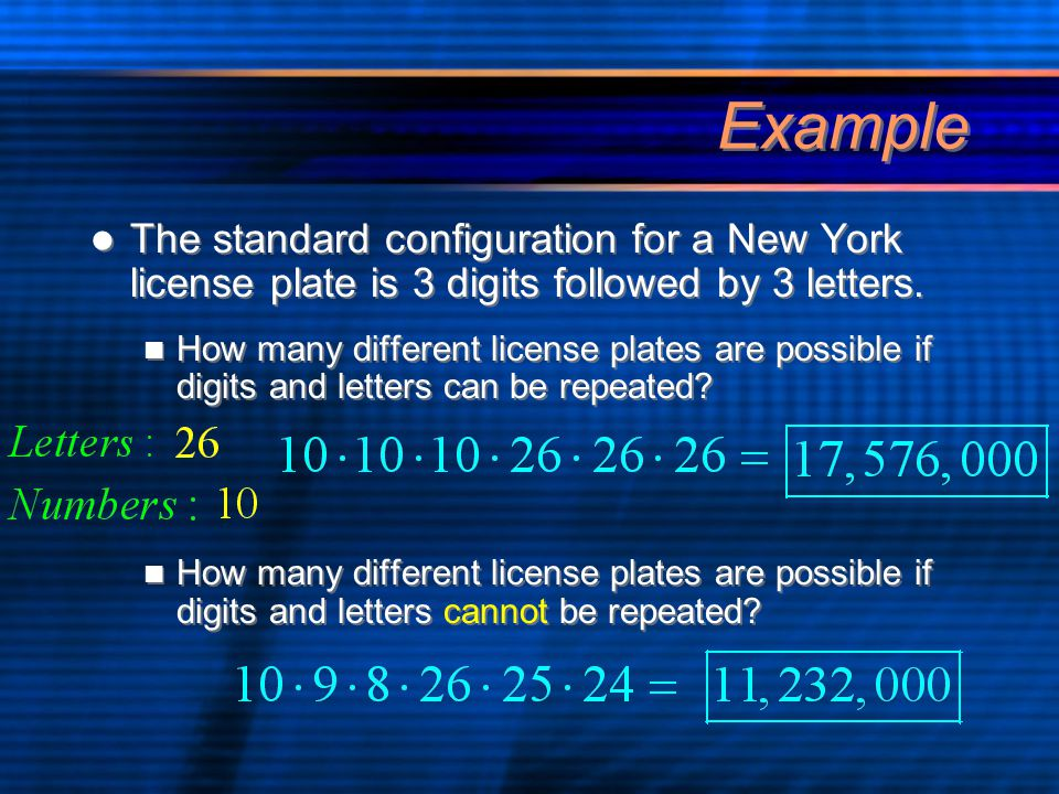 Example The standard configuration for a New York license plate is 3 digits followed by 3 letters.