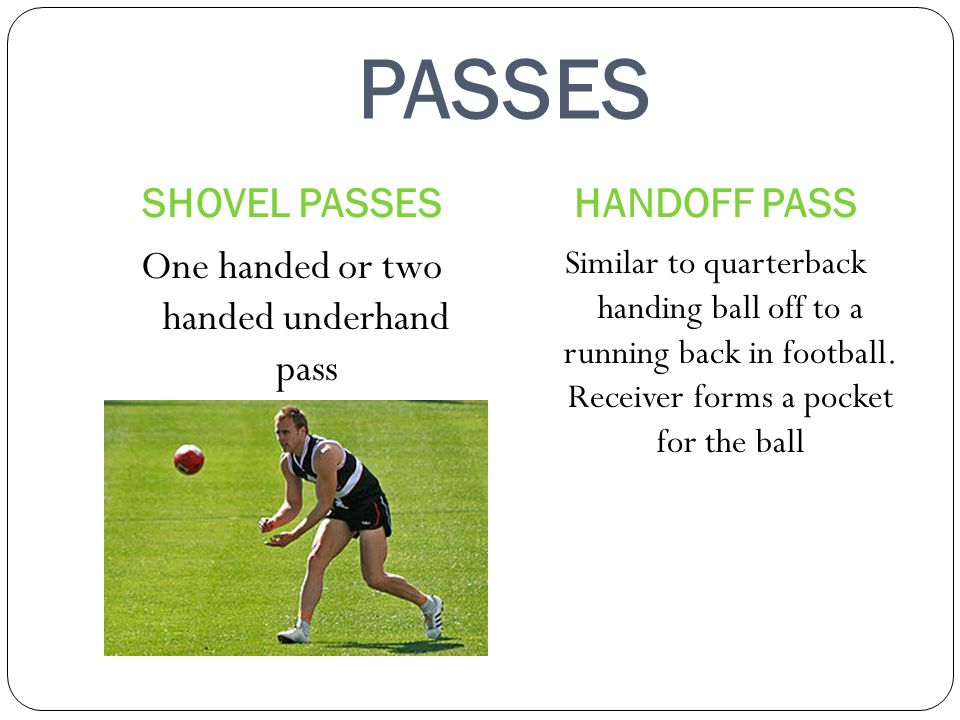 One handed or two handed underhand pass
