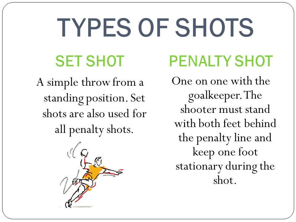 TYPES OF SHOTS SET SHOT PENALTY SHOT