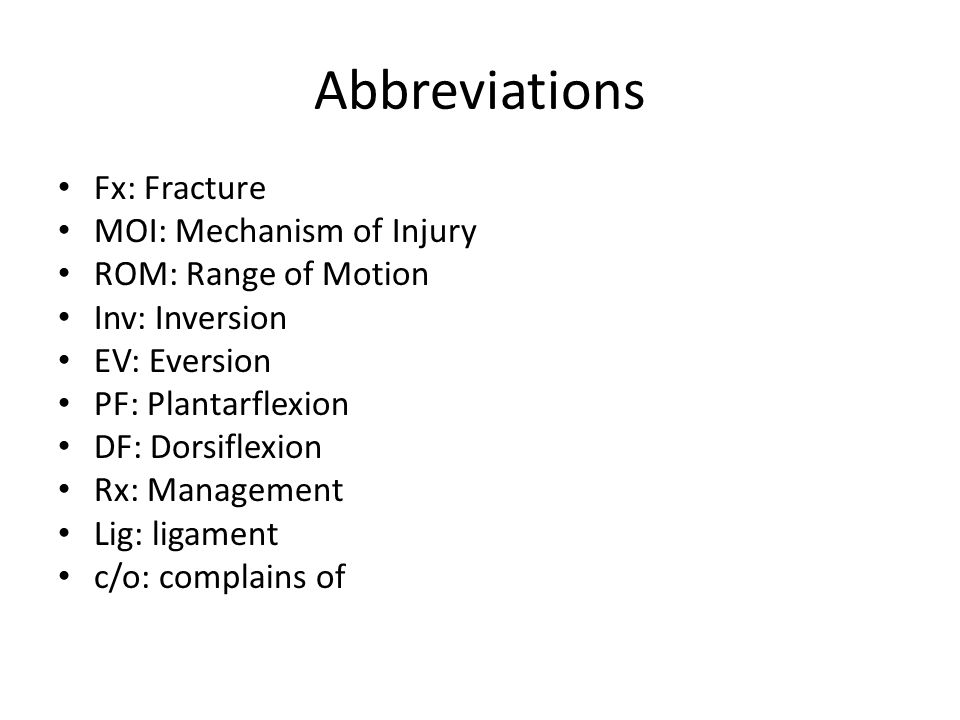 Abbreviations Fx: Fracture MOI: Mechanism of Injury