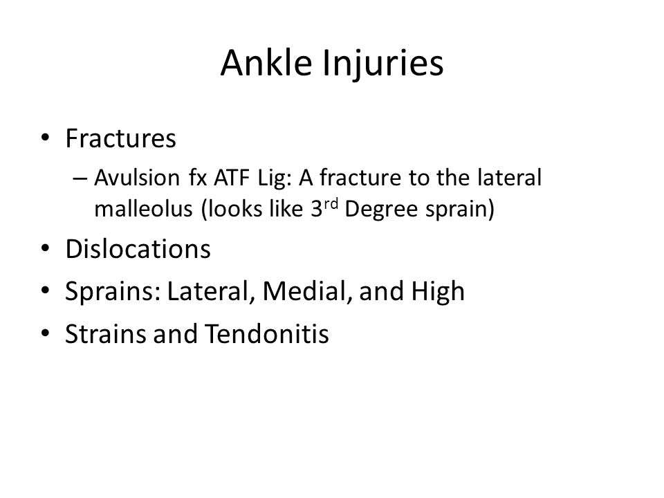 Ankle Injuries Fractures Dislocations